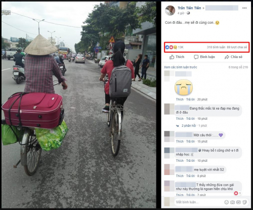 Cùng con đi khắp thế gian – Khoảnh khắc mẹ nón rách, xe đạp cà tàng nhập học cho con khiến dân mạng xúc động