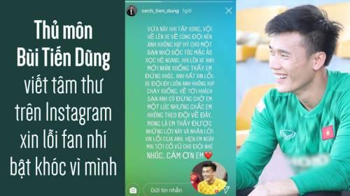 Thủ môn Bùi Tiến Dũng viết tâm thư trên Instagram xin lỗi fan nhí bật khóc vì mình