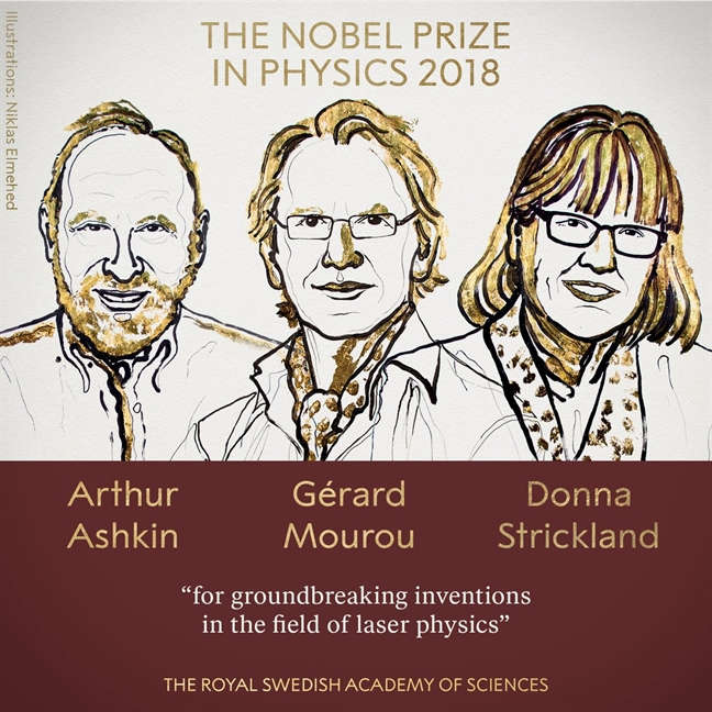 Nobel Vat ly 2018 trao cho 3 nha khoa hoc ve cong nghe laser